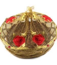 Rose Motif Brown Gift Basket Tray
