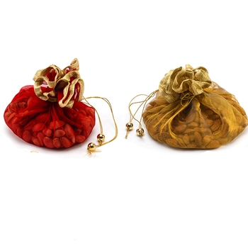 Red And Golden Stylish Net Patterened Pouch- Set Of 2