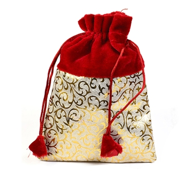 Golden Print Red Stylish Pouch Bag