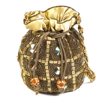 Colorful Stones Studded Golden Pouch Bag