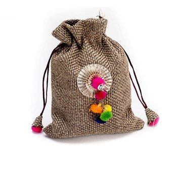 Colorful Cotton Balls Studded Brown Pouch Bag