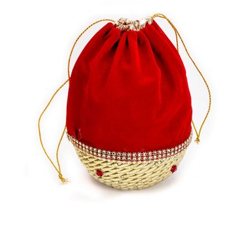 Red And Golden Ad Studded Pouch Bag