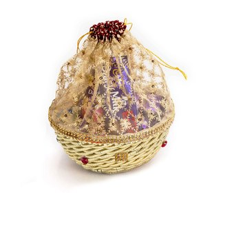 Basket Style Net Fabric Pouch Bag