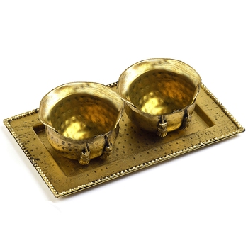 Golden Elegant Gift Tray With 2 Bowls
