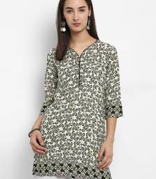 Green printed cotton short-kurtis