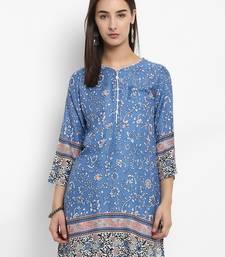 Blue printed cotton short-kurtis