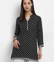 Buy Black printed cotton short-kurtis short-kurtis online