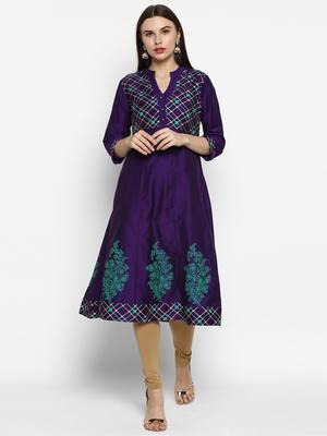 Purple printed cotton poly kurtas-and-kurtis