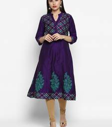 Purple printed cotton poly kurtas-and-kurtis