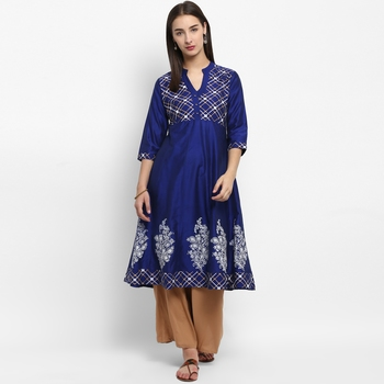 Royal-blue printed cotton poly kurtas-and-kurtis