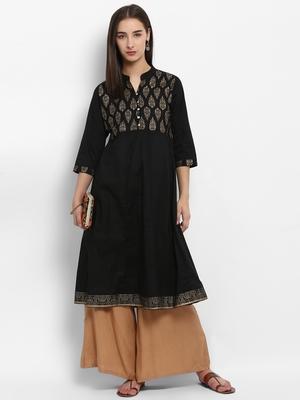 Black printed cotton kurtas-and-kurtis