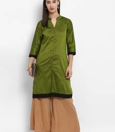 Green plain cotton poly kurtas-and-kurtis