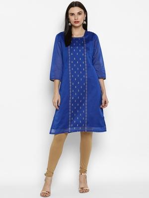 Royal-blue printed chanderi kurtas-and-kurtis