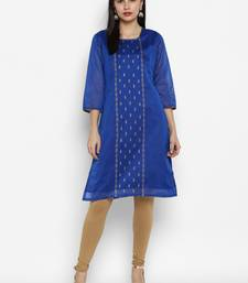 Royal-blue printed chanderi kurtas-and-kurtis