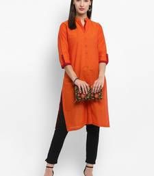 Orange plain cotton kurtas-and-kurtis