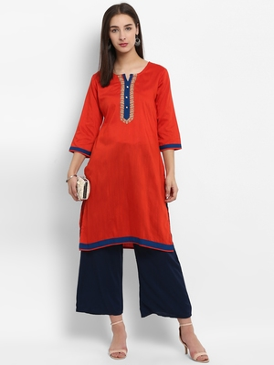 Red embroidered cotton poly embroidered-kurtis