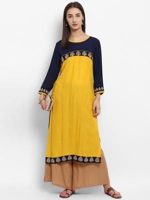 Yellow embroidered rayon embroidered-kurtis