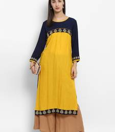 Yellow embroidered rayon embroidered-kurtis