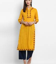Mustard embroidered rayon embroidered-kurtis