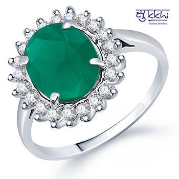 Sukkhi Rodium plated CZ Studded Emerald Ring