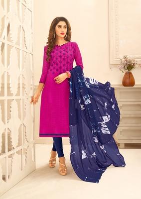 Magenta embroidered cotton unstitched salwar