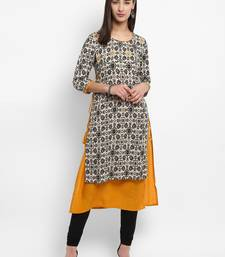 Brown embroidered rayon kurtas-and-kurtis