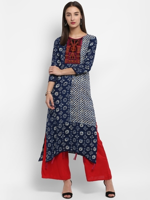 Indigo embroidered rayon embroidered-kurtis