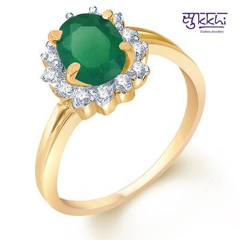 Sukkhi  Gold  and Rodium plated CZ Studded Emerald Ring