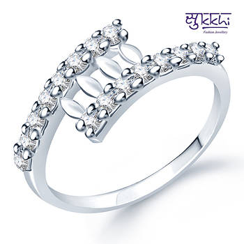 Sukkhi Rodium plated CZ Studded Ring