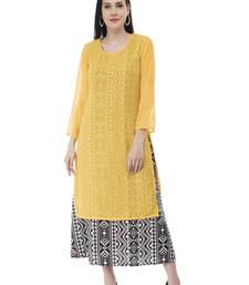 Yellow And Black Georgette Double Layer kurti