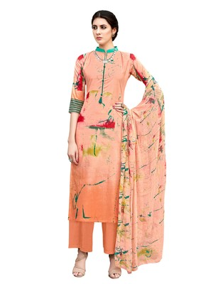 peach printed unstitched salwar kameez with dupatta