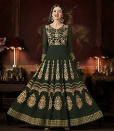 Buy Dark-green embroidered georgette anarkali salwar anarkali-salwar-kameez online