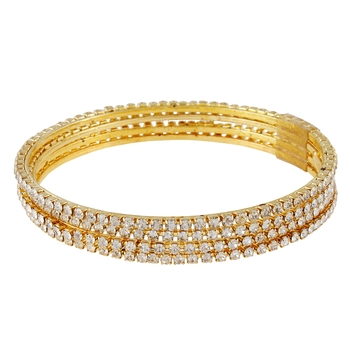 Sleek CZ 4pc Gold Plated Bangles