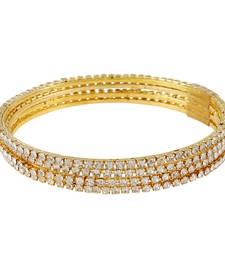 Sleek CZ 4pc Gold Plated Bangles