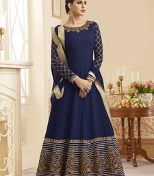 Buy Navy-blue embroidered silk anarkali salwar anarkali-salwar-kameez online