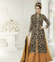Buy Black embroidered georgette semi stitched salwar semi-stitched-salwar-suit online