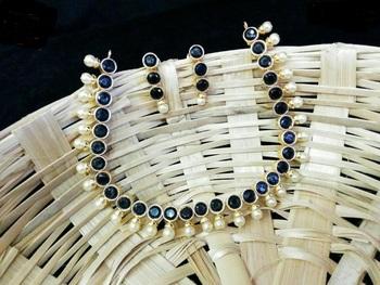 Black Colour Kundans Necklace Set