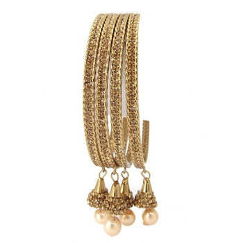 9blings Pearl Collection LCT CZ Gold Plated Stone 4pc Bangles for Womens Girls
