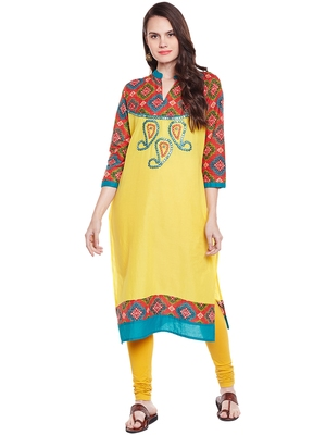 Chhabra 555 yellow and multicolor printed cotton stiched kurti