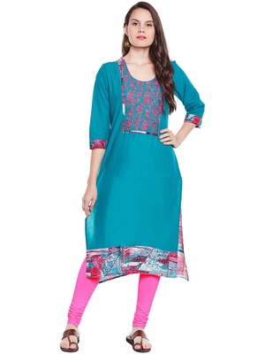 Chhabra 555 cyan blue color printed cotton stiched kurti