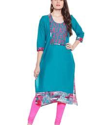 Chhabra 555 cyan blue color printed cotton stiched kurti