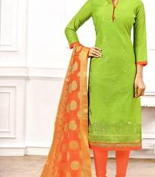 Green Embroidery And Brocade Chanderi And Cotton Unstitched Salwar Kameez With Dupatta