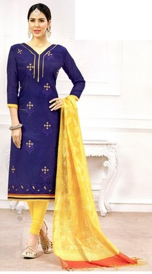 Blue Embroidery And Brocade Chanderi And Cotton Unstitched Salwar Kameez With Dupatta