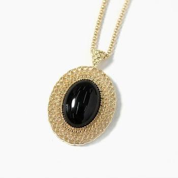 Hollowed Oval big Gemstone Chain Necklace(CFN0023)