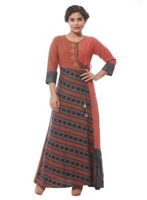 Brown printed jute cotton kurti