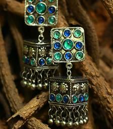 Buy German silver blue jhumka women-ethnic-wear online