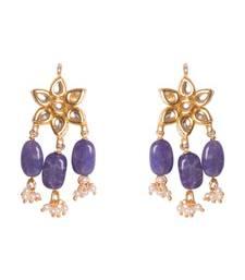 Buy Subrata kundan and blue onyx studs danglers-drop online