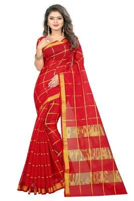 Red woven manipuri silk saree with blouse