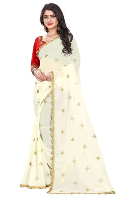 White georgette saree with blouse