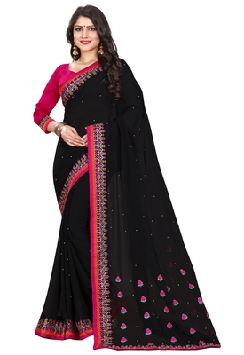 Black georgette saree with blouse